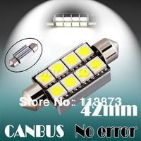 6pcs 42mm 8 SMD 5050 Pure White Dome Festoon c5w CANBUS OBC Error Free Car 8 LED Light Lamp parking Bulb V6 12V car light source