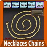 Wholesale 14K Gold Plated Necklaces Chains Length 70cm Width 0.3cm Jewelry Findings 2 Colors 12pcs/lot 26917