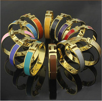 Free Shipping 2014 Celebrity Design Style Silver Gold brand bijoux bracelet Bangle Titanium Steel 6 Colors