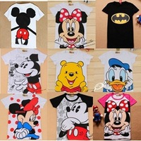 Free shipping women Batman mickey minnie t shirt short-sleeve 100% cotton lady t-shirt