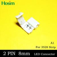 (NO: A1) Free shipping, 10pcs/lot, 3528 single color strip LED connector, 10 pcs 8mm 2pin, no welding.