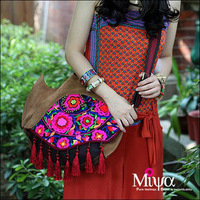 2014New Original Design Ethnic Style Hand Embroidery Ladies' Handbag Personalized Embroidered Tote Bag  Leather