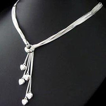 Hot! free shipping wholesale 925 silver necklace, 925 silver fashion jewelry Heart Necklace N092