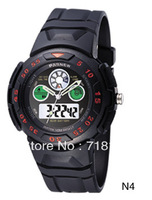 Wholesale TOP quality PASNEW 50M Waterproof Dual Time Boys Men Sport Watch PSE-245