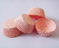 FREE SHIPPING 100pcs Light Pink and White polka dot Cupcake Liners, Baking Paper Cups  muffin cake tray wrapper mold