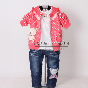 Children Spring Clothing Set 3Pcs Girls Hot Pink Hoodies And Cotton T Shirt And Trousers Kids Clothes CS30202-07^^EI