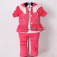 Hot Pink Girls Clothing Suit 3 Pcs Kid Hoodies And Cotton T Shirt Pants Children Spring Clothes Set Free Shipping CS30202-08^^EI