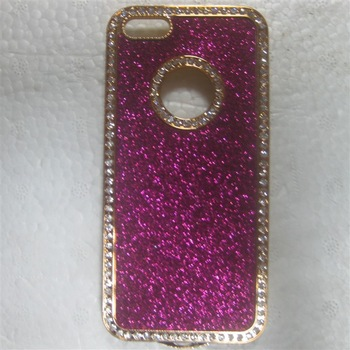 10pcs/lot Bling Glitter Shimmering Powder Case Cover Rhinestone Chrome Frame With Tail  for iPhone 5 5G 8 Colors