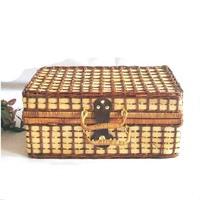 KINGART Big size vintage rattan suitcase travel bag clothing box luggage