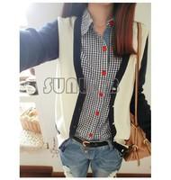 Women's Cotton Plaid Check Pattern long sleeve Shirt Blouse Free Shipping  B16 8926