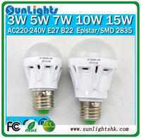 Free Shipping high quality Bulb 3W 5W 7W 10W 15W Led light Lamp E27 B22 AC220V-240V  2835, 5630 SMD Cool/Warm White