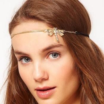 New  Fashion hairwear Dragonfly elastic hair band accessories women gift H200