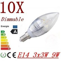 30pcs/lot 4x3w (12w) 3x3w (9w) 3w Dimmable E14 (E12) E27 AC85-265V warm / cold white LED candle bulb light lamp