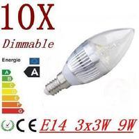 30pcs/lot 4x3w (12w) 3x3w (9w) 3w Dimmable E14 (E12) E27 AC85-265V warm / cold white LED candle bulb light lamp