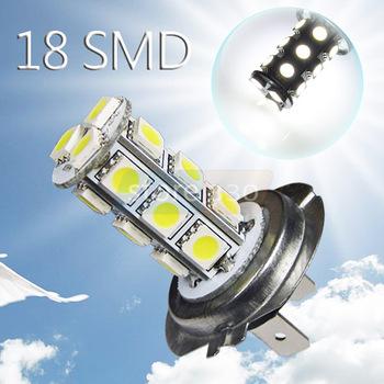 4pcs H7 18 SMD 5050 Pure White Fog Tail Signal LED Car Lamp Bulb 12V car styling led car light source  h7 headlights parking