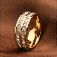 Titanium Steel brand jewelry rhinestone wedding rings for women-new gift 2013 Free Shipping R050