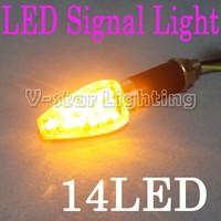 Free Shipping !! 2xMotorcycle 14 LED Turn Signals Light Blinker Fasher Bike Black Clear Lens Chrome Base  5pcs/Lot