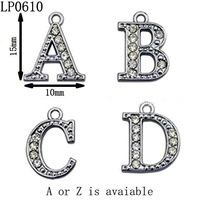 15mm Kids High Quality Half Crystal Stud Silver Tone Alloy Initial Letter Charms,DIY Bracelet Charms,Free Shipping 52pcs/lot