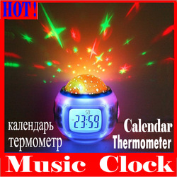 Hot selling ! Promotion ! Music Starry Star Sky Projection Alarm Clock with Calendar Thermometer + retail package, freeshipping(China (Mainland))