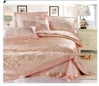 Jacquard silk/cotton bedding set king queen size 4pc Pink Lace comforter/duvet cover Satin bed linen bedclothes set home textile
