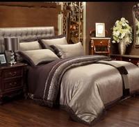 2014 New Jacquard Tribute Silk duvet/comforter cover queen king 4/6pcs Brown Satin bed sheet bedclothes bedding set home textile