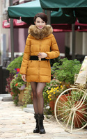 Free shipping  female winter cotton-padded jacket women's winter thick warm long plus size  with fur collar outwear cotton coat