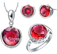 Women' jewelry Free shipping fashion 925 sliver crystal gem pendant necklace hot selling top quality