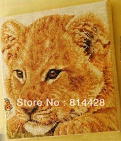 Free shipping Uncompleted Baby Lion Counted Cross Stitch kit with 14CT linen cloth 2 German needle &cotton thread