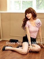 Hot Sale Fashion Stylish short-sleeved T-shirt,white, pink, green, brown Brandnew