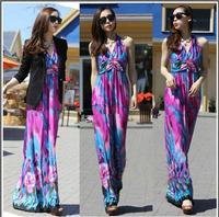 2014  new style Bohemia full dress one-piece dress plus size basic tank dress beach dress 3 color High-grade ice silk shirt