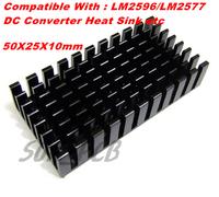 Free Shipping 5 PCS/LOT IC Radiator 50x25x10mm Black Aluminum Heat Sink for LM2596 LM2577 DC Converter Module