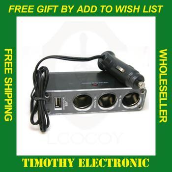 WHOLESALE  3 Socket Car Cigarette Lighter Charger USB Port Adapter 12V Adapter Accessory 50PCS/Lot#SJ002