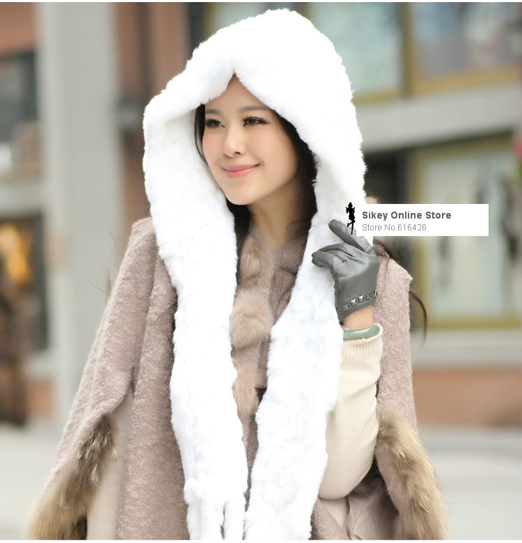 Genuine Real knitted Rex Rabbit fur womens' scarf hats scarves wrap shawl stole Russian wholesales drop shipping(China (Mainland))