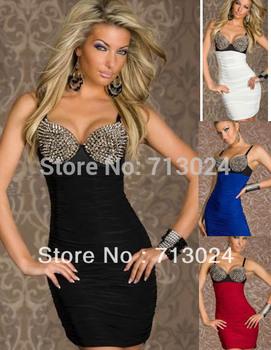 Punk Rivets Bra Top Sexy Club Mini Dress 2014 For Summer Women Dress Black Blue ...