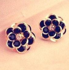 Popular Vintage Beauty Bijou Black Flower earrings jewelry wholesale free shipping Punk rhinestone earrings jewelry women