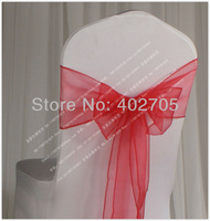 FREE SHIPPING red organza chair sash for wedding