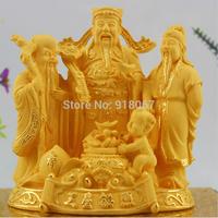 YZ2015 24K gold craft/ Gold Handicraft/corporate gift/ China Buddhism YuanBao Fu Lu Shou Peach RuYi Kid Wealth Mammon God Statue