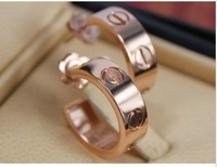 Titanium Steel rose gold plated love nail stud earrings/fashion/everlast naildrill-brand jewelry 2013  E105