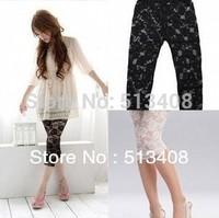 Drop shipping Sexy leggings for womens Vintage Lace leggings rose flower leggings pants trousers