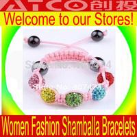 Shambala Bracelets jewelry Wholesale, free shipping, New Shamballa Bracelets Mix Micro Pave CZ Disco Ball Bead D11K