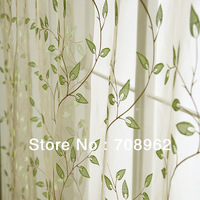 Evergreen tree embroidery window screening balcony bedroom curtain (custom made curtain)