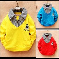 "retail Kids Children's clothing ""False collar"" 100% Cotton Long-sleeved False collar Sweater T-shirt size S M L XL"