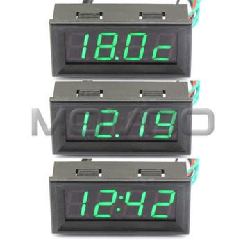"""0.56"""" Green LED 7-30V DC Multifunction 3in1 MCU Electric Vehicle Clock Thermometer 0-200V Digital Car Voltmeter Gauge"""