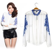 2013 Women's Chinese Style Blue And White Porcelain Vintage Print Chiffon Shirt Blouse Long Sleeve T-Shirt Free Shipping 11115
