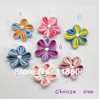 Free Shipping 60pcs  Kanzashi Fower Hair Clips Badge Reel Hair Clips