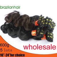 "Wholesale 5pack(20pcs) Black Original Brazilian Hair,Trendy Wavy hair,brazilian virgin hair weaving extension 16'' -24"" chose"
