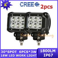 2x Camper 18W AWD Driving Lamp car Cree LED Work Light Wagon Spot Beam 4x4 ATV off-road bar 12V/24V Van SUV Pickup 4WD UTV