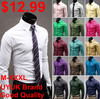 2013 Fashion Casual Candy Color Man Men Long-sleeve Shirt Shirts For Men,17 colors M/L/XL/XXL/XXXL,Free Shipping,RD464(China (Mainland))