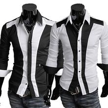 2014 Spring Chemise Perfect Patchwork Men Casual Fitness Long sleeve Shirt,block Mens shirts,Mens Dress Shirts,RD484(China (Mainland))