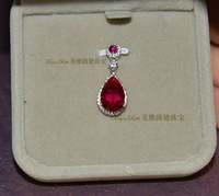 Created Ruby Pendant Drop Shape Synthetic Red Corundum 925 Sterling Silver White Gold Plated Micro Setting Elegant Women Gift